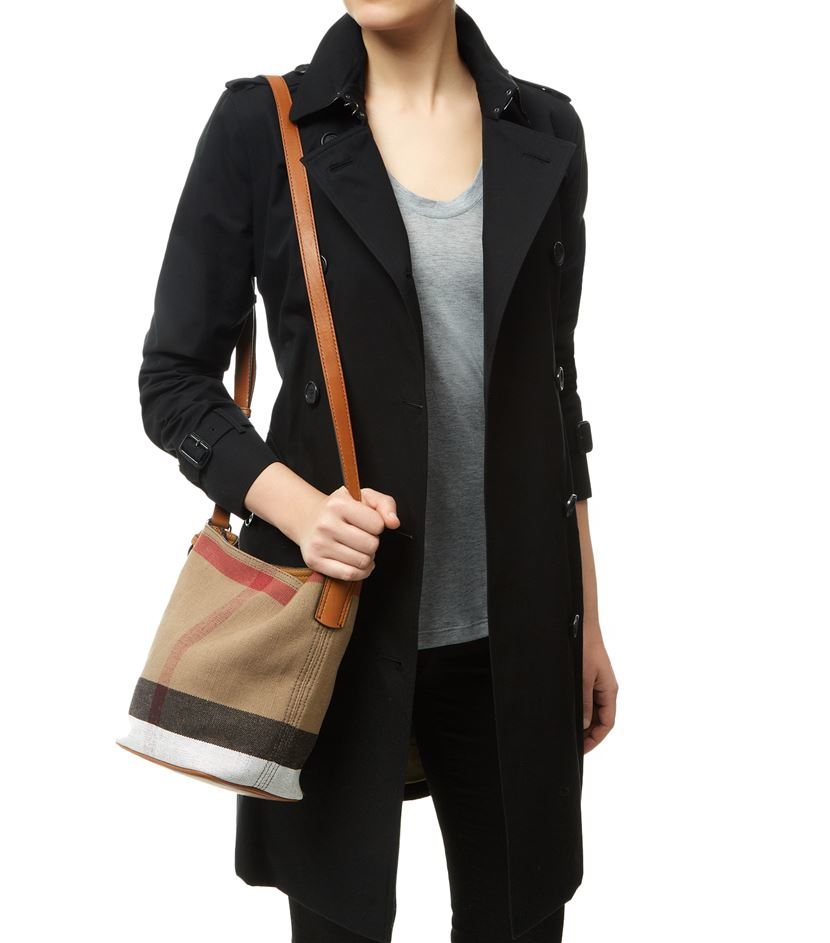 Burberry Small Ashby Canvas Bucket Bag In Brown Lyst