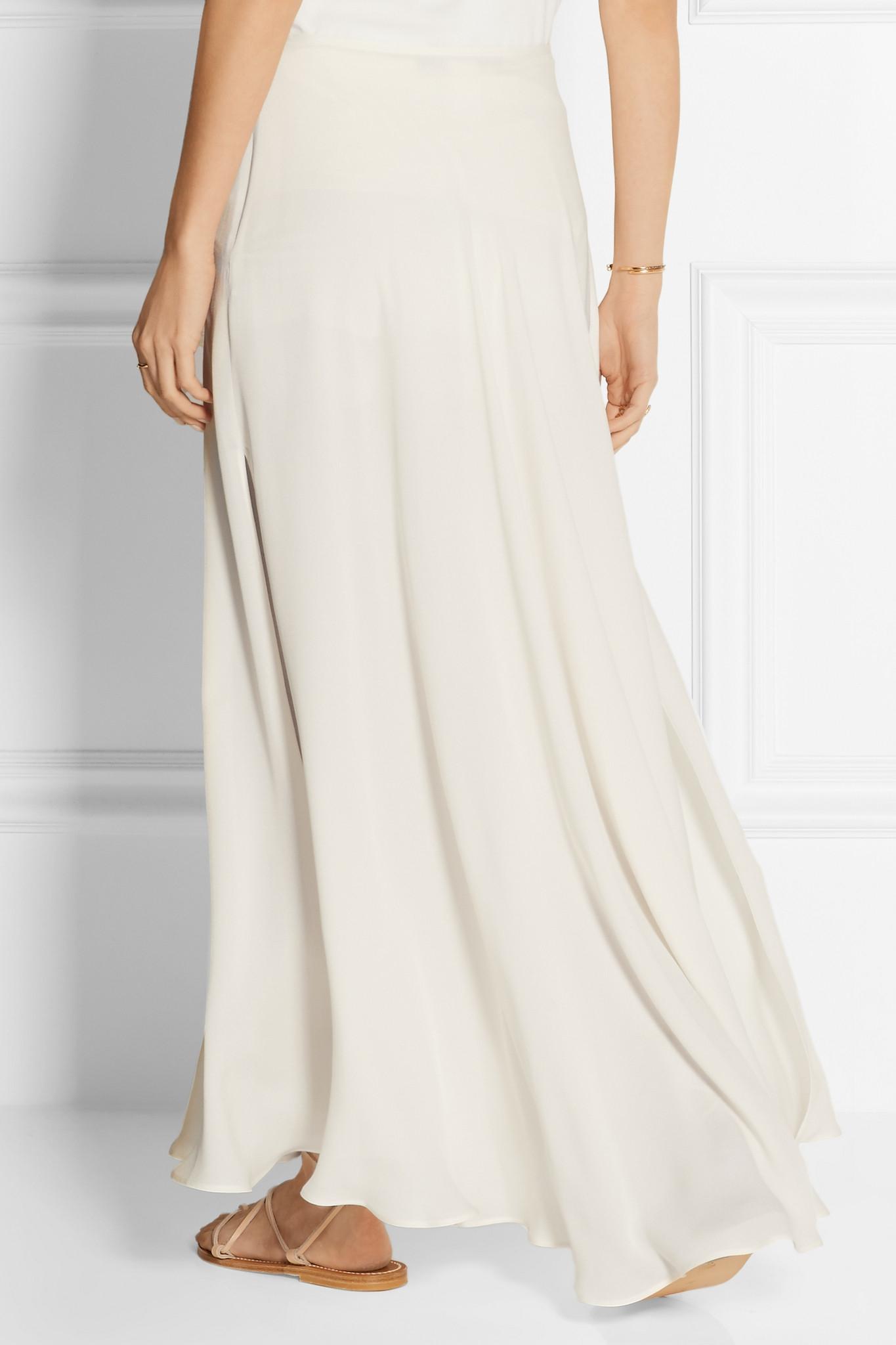 Lyst Elie Saab Silk Blend Crepe Maxi Skirt In White