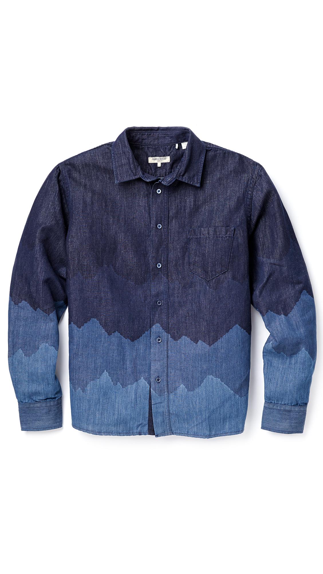 levi 39 s denim mountains classic shirt in blue for men. Black Bedroom Furniture Sets. Home Design Ideas