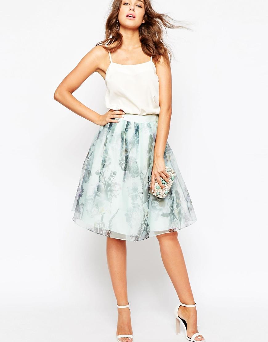 Lyst Ted Baker Roshini Torchlit Floral Midi Skirt In Green