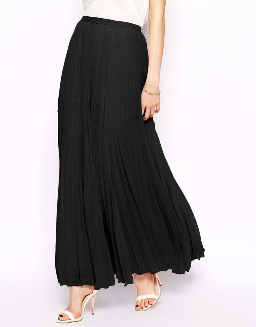 Simple Womens Pleated Skirt - Shiny Black / Solid Color / Knee-Length