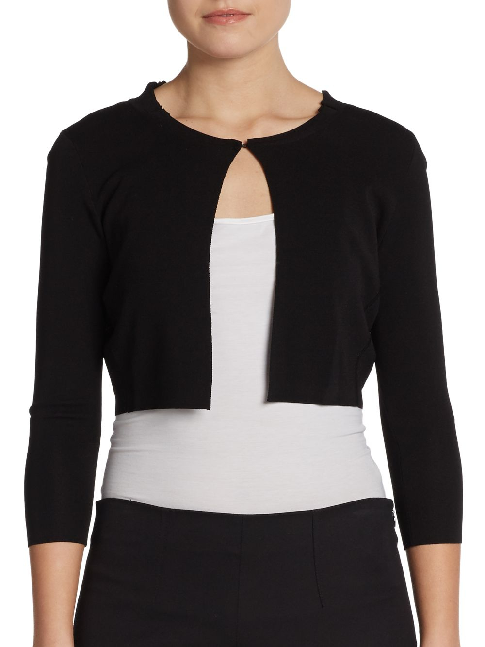 Elie tahari Minnie Cropped Bolero Cardigan in Black | Lyst