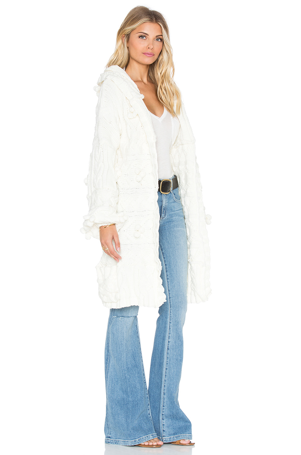 For love & lemons Braided Cable Hoodie Cardigan in White   Lyst