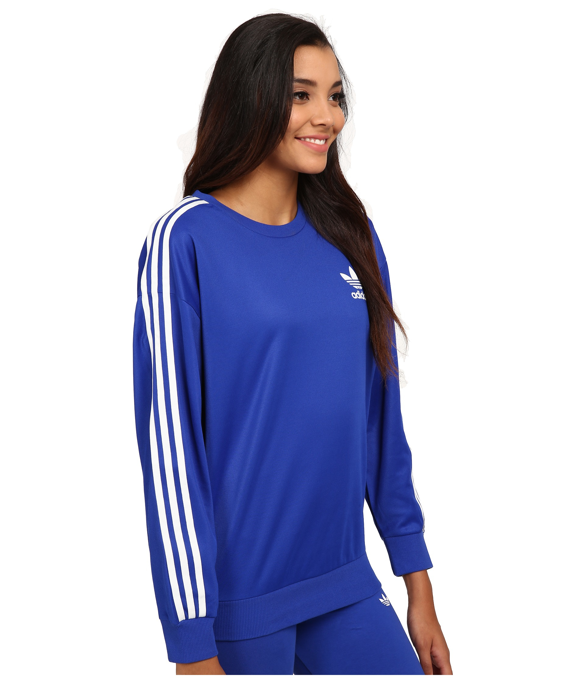 adidas originals 3 stripes sweatshirt in blue lyst. Black Bedroom Furniture Sets. Home Design Ideas