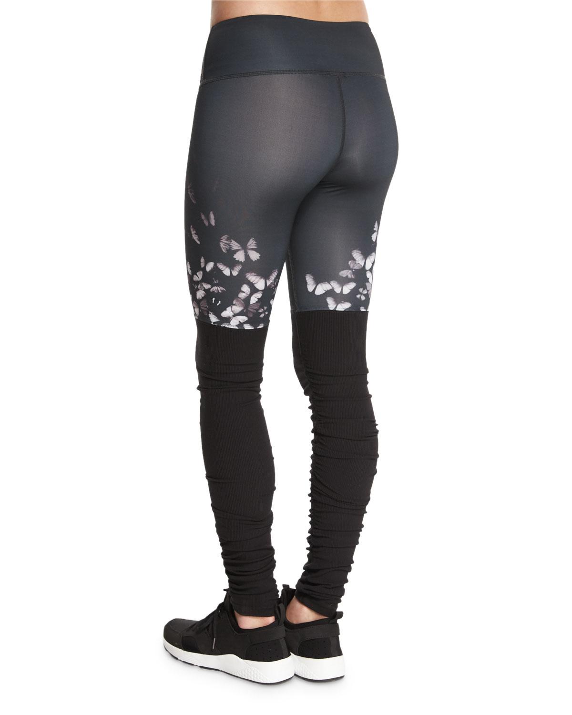 alo yoga goddess colorblock ribbed sport leggings in black wht butterfly blk lyst. Black Bedroom Furniture Sets. Home Design Ideas