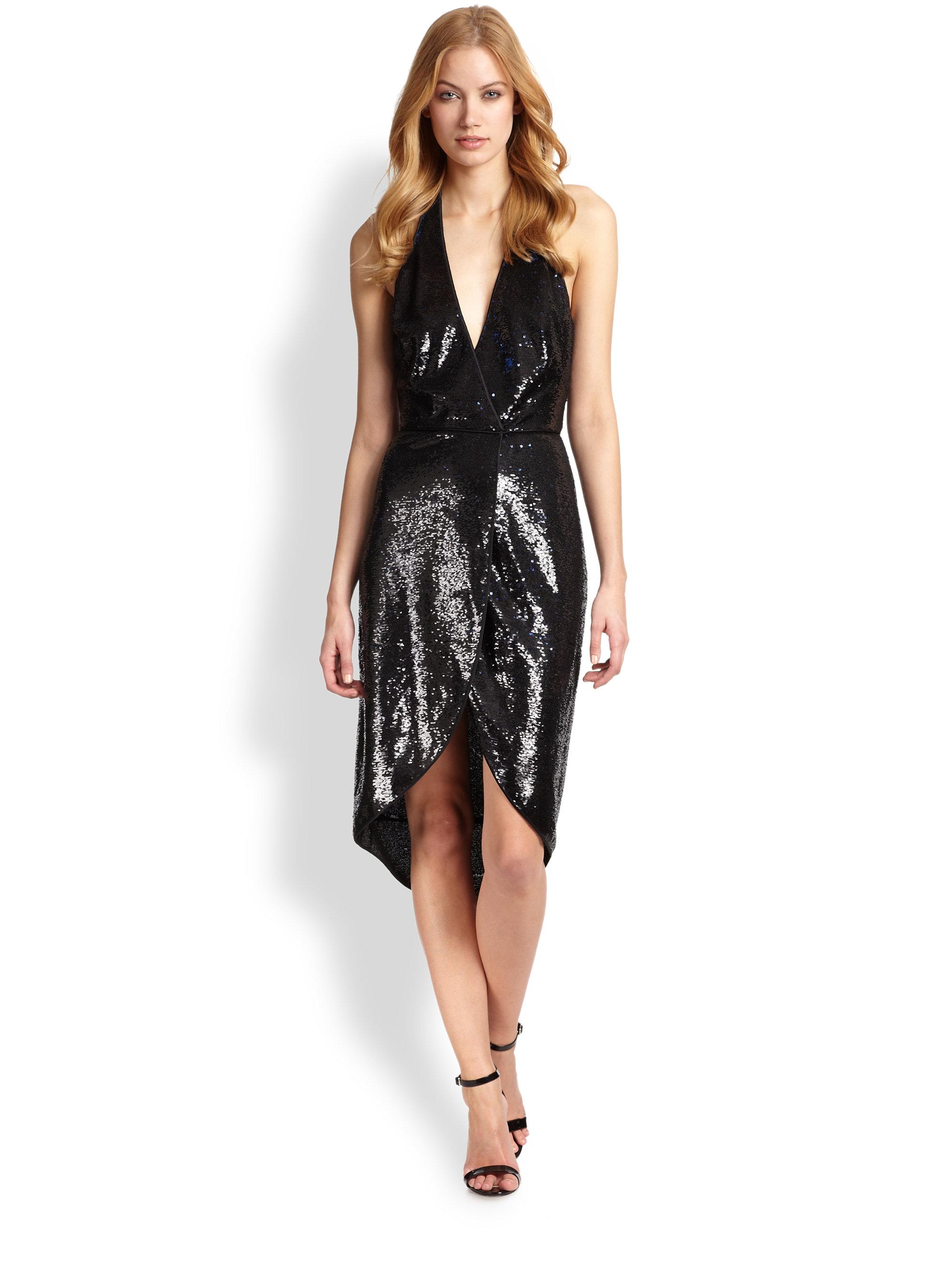 Halston Sequined Halter-Neck Dress in Black