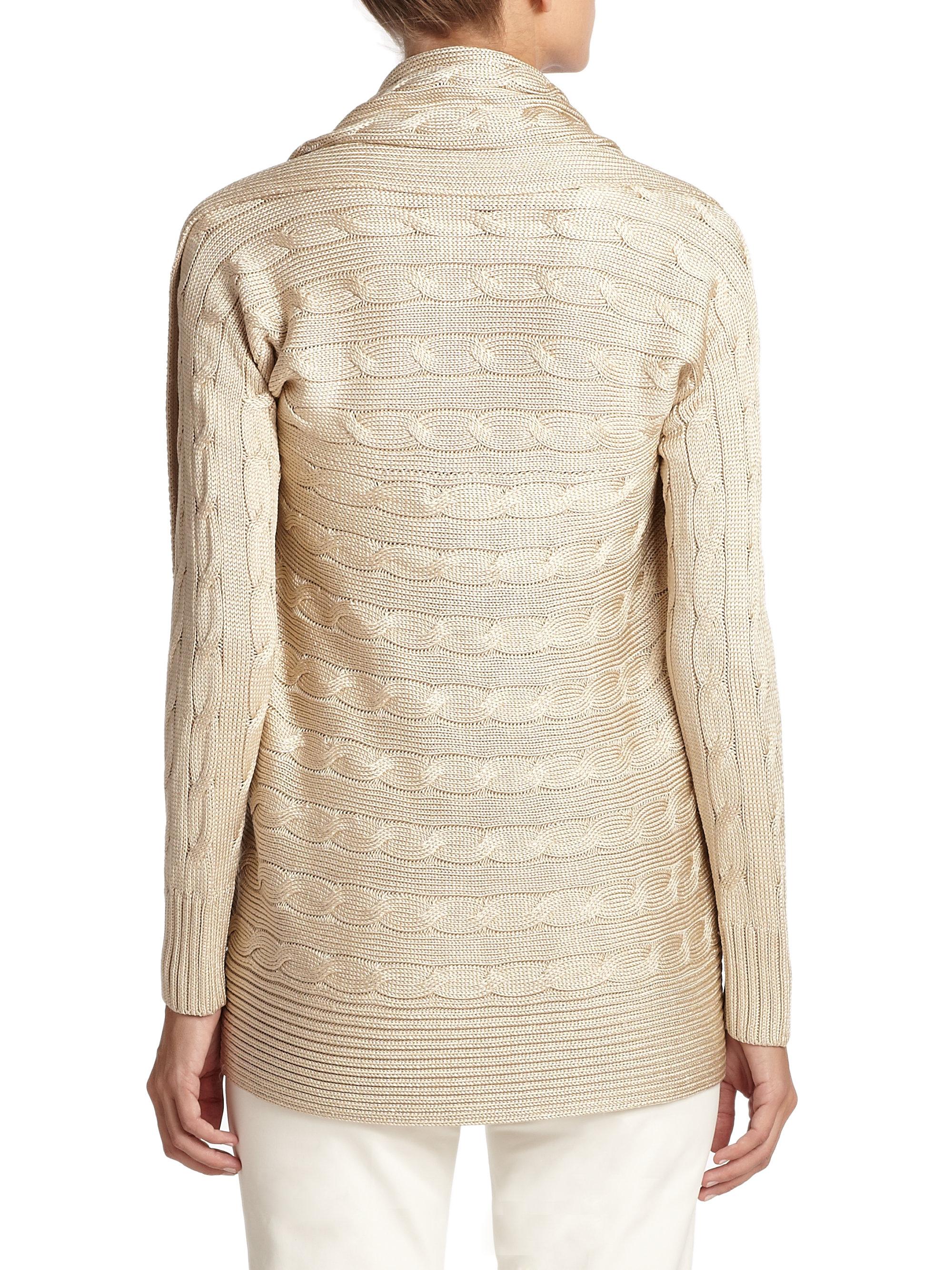 Ralph Lauren Black Label Cable Knit Dress in Natural - Lyst