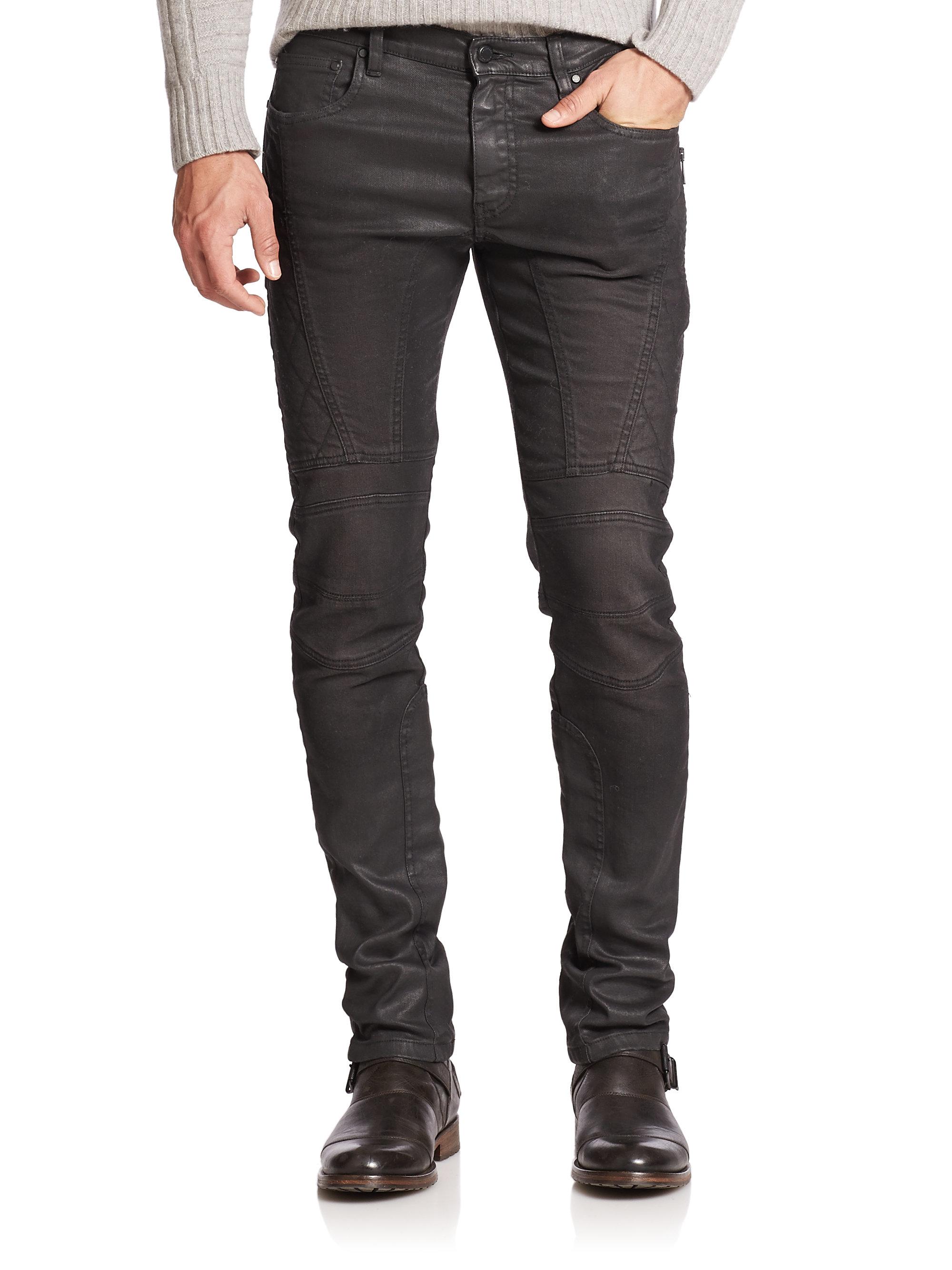 Lyst - Belstaff Eversely Slim-fit Moto Jeans in Black for Men