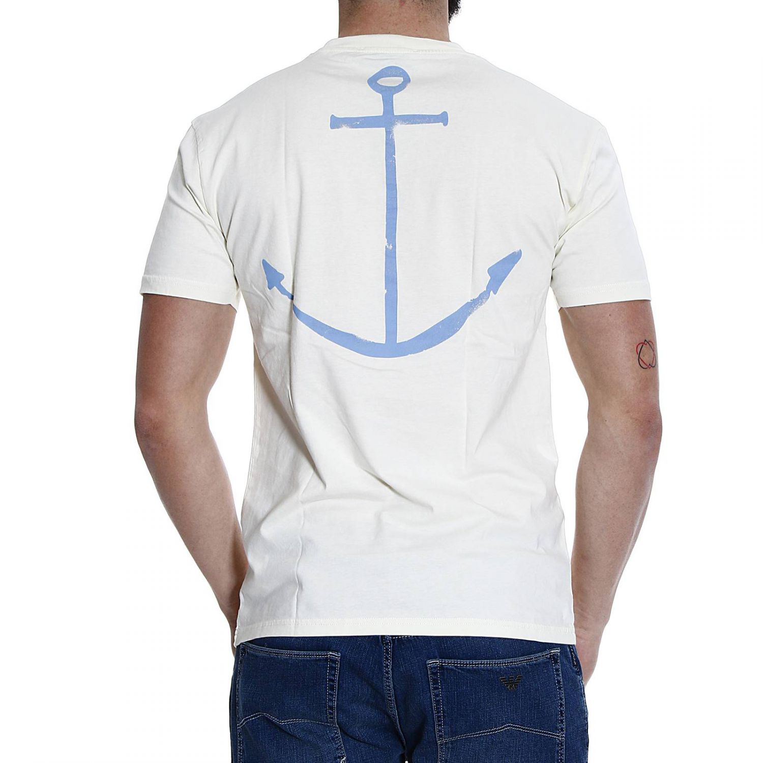 Lyst mauro grifoni rudder printed half sleeve crew neck for Half sleeve t shirts for men