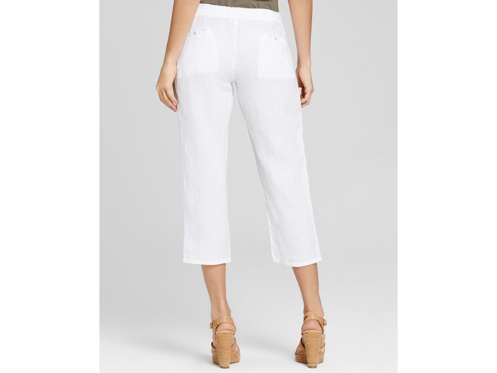 Lyst Allen Allen Linen Drawstring Capri Pants In White