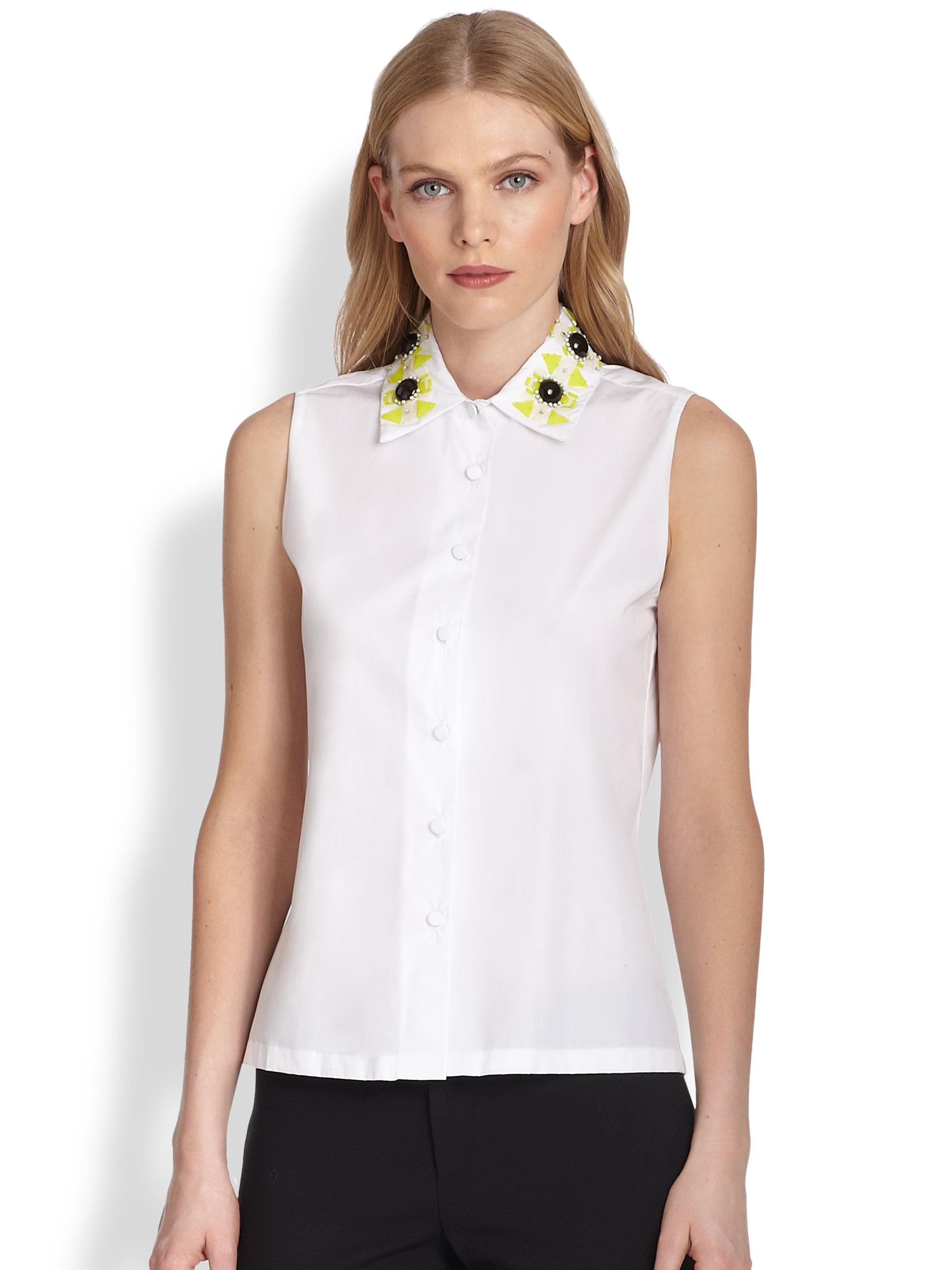Lyst Raoul Sleeveless Beadedcollar Shirt In White