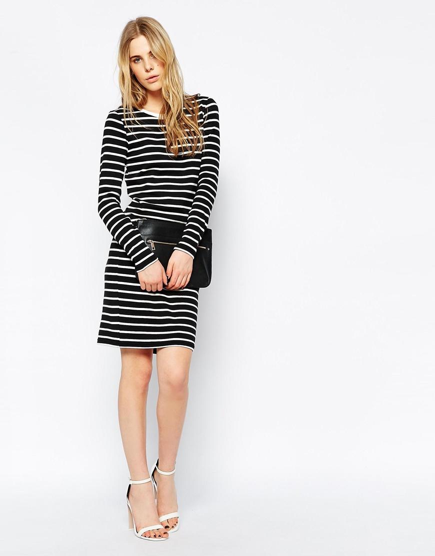Lyst Vila Long Sleeve Striped T Shirt Dress In Black