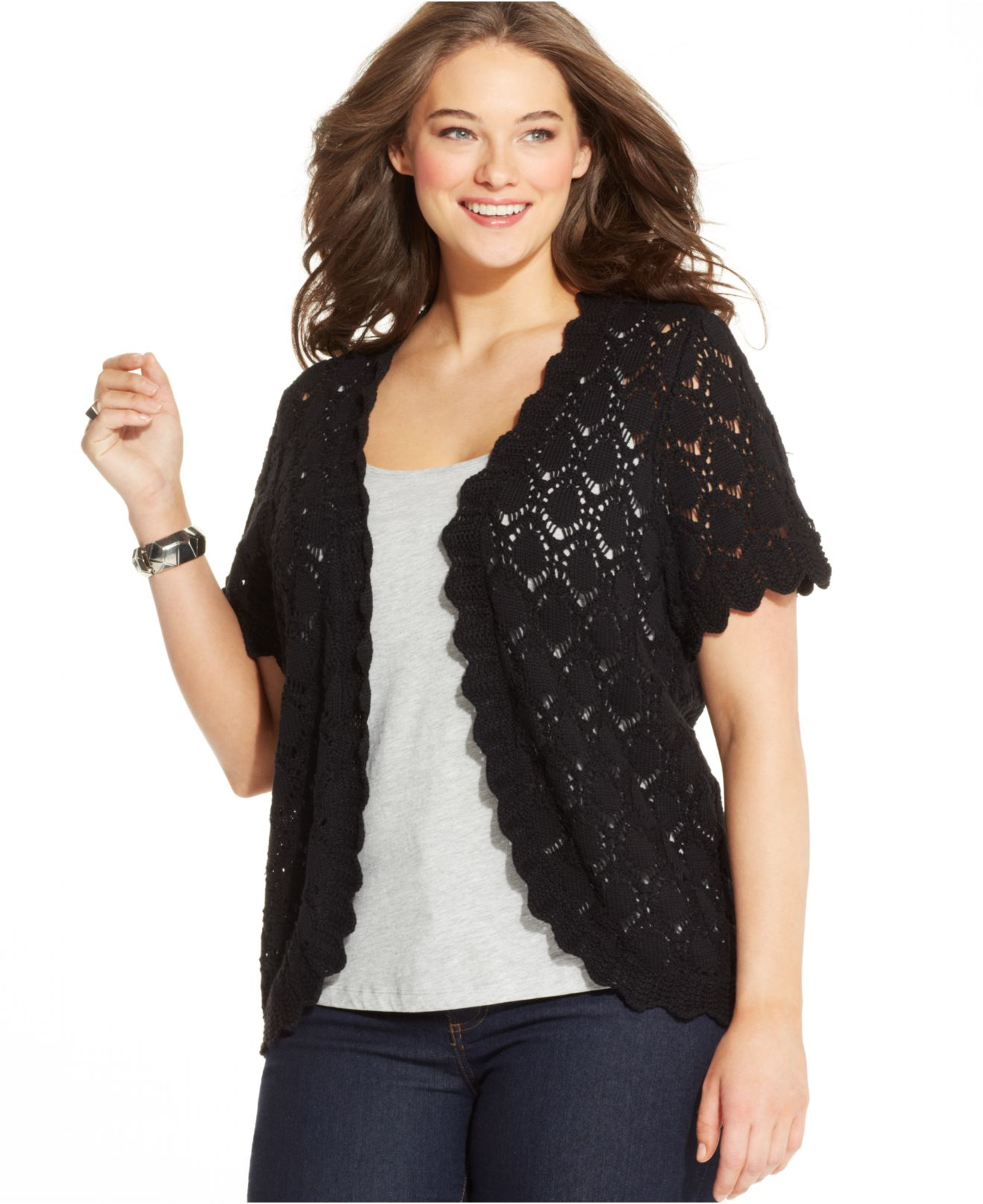 Style & co. Plus Size Short-sleeve Crochet Cardigan in Black | Lyst