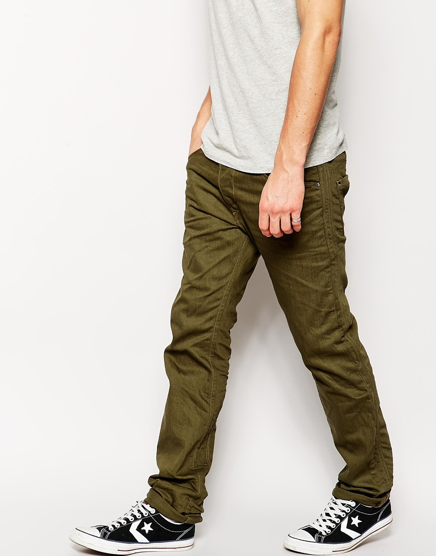Mens Olive Green Jeans Photo Album - Reikian