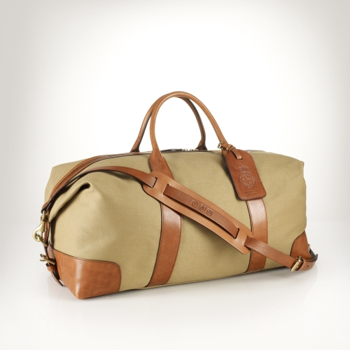 Polo ralph lauren Canvas Leather Weekend Bag in Green for Men | Lyst
