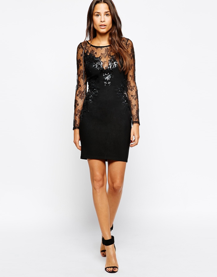 9402a0ead8db Lyst - Lipsy Lace And Sequin Long Sleeve Dress in Black
