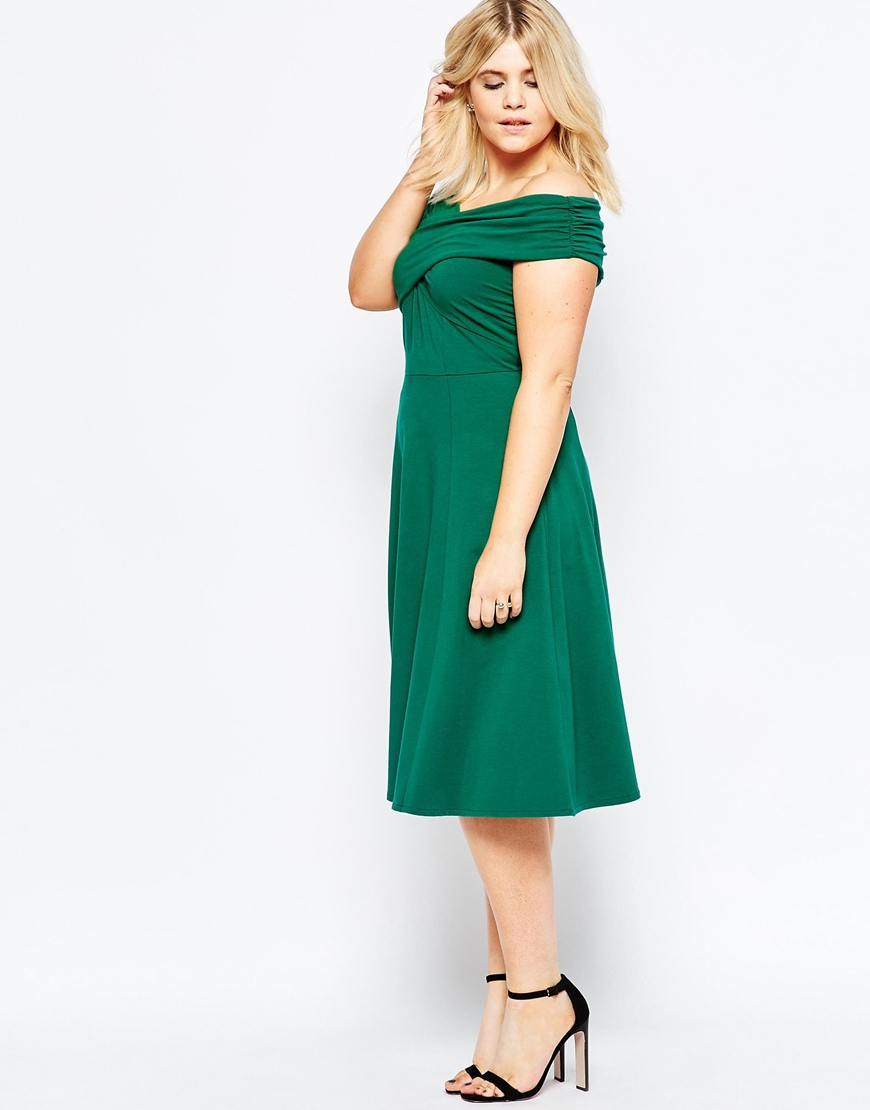 Lyst - ASOS Curve Midi Skater Dress With Bardot Cross Front in Blue e44c068b3