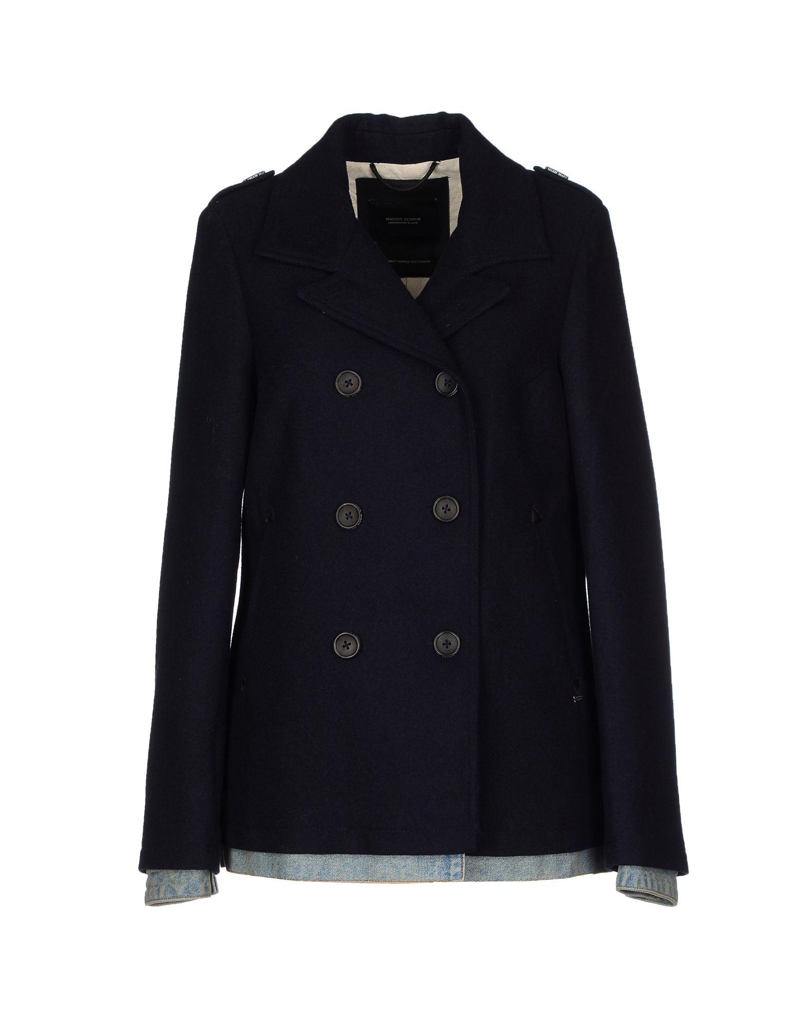 Maison scotch coat in blue lyst for Atelier maison scotch