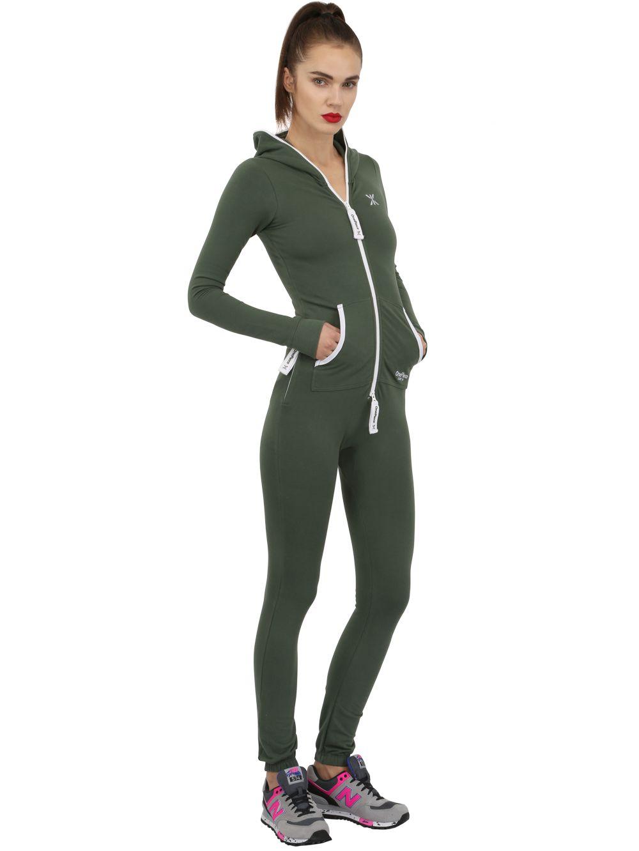 onepiece slim stretch cotton jumpsuit in green lyst. Black Bedroom Furniture Sets. Home Design Ideas