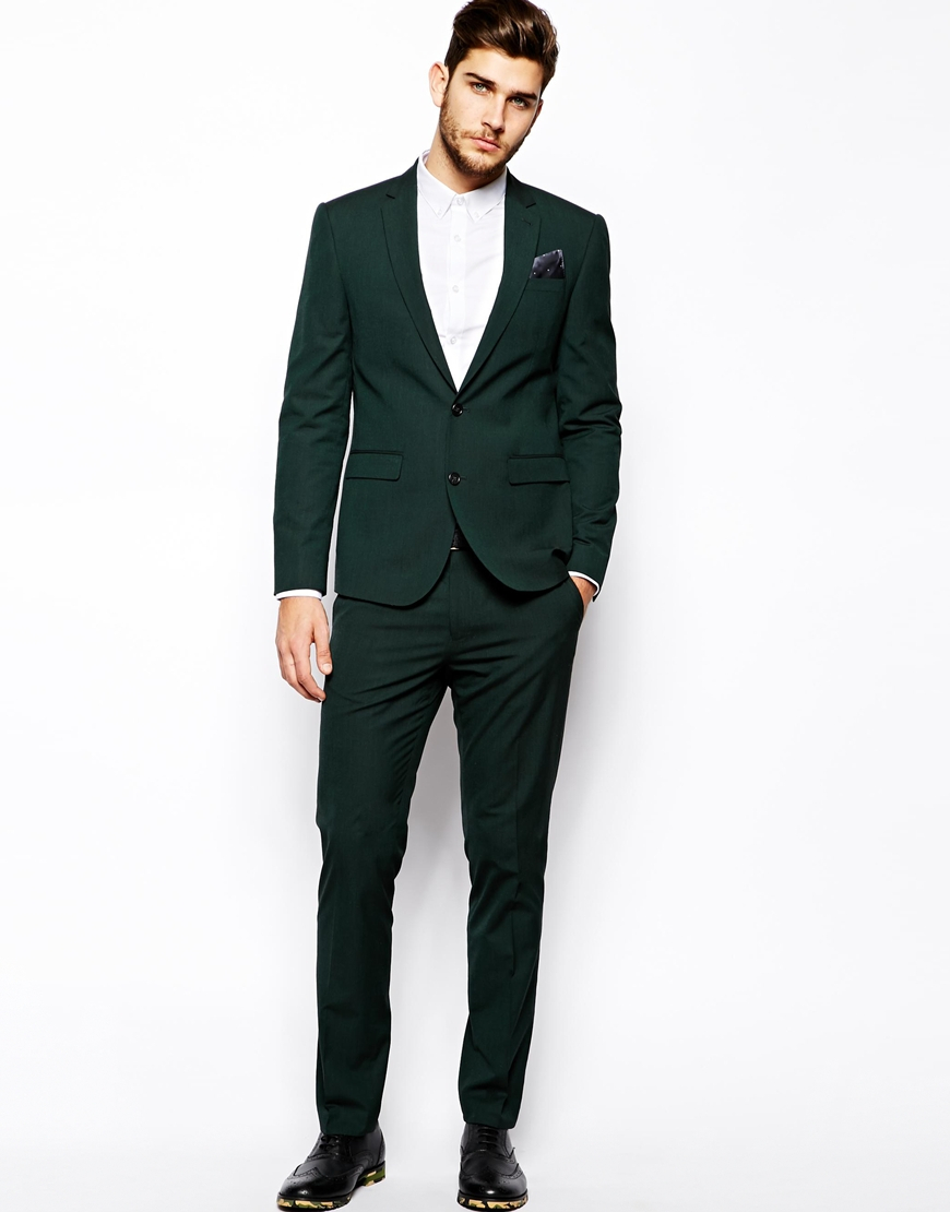 Asos Slim Fit Suit Jacket In Dark Green in Green for Men | Lyst