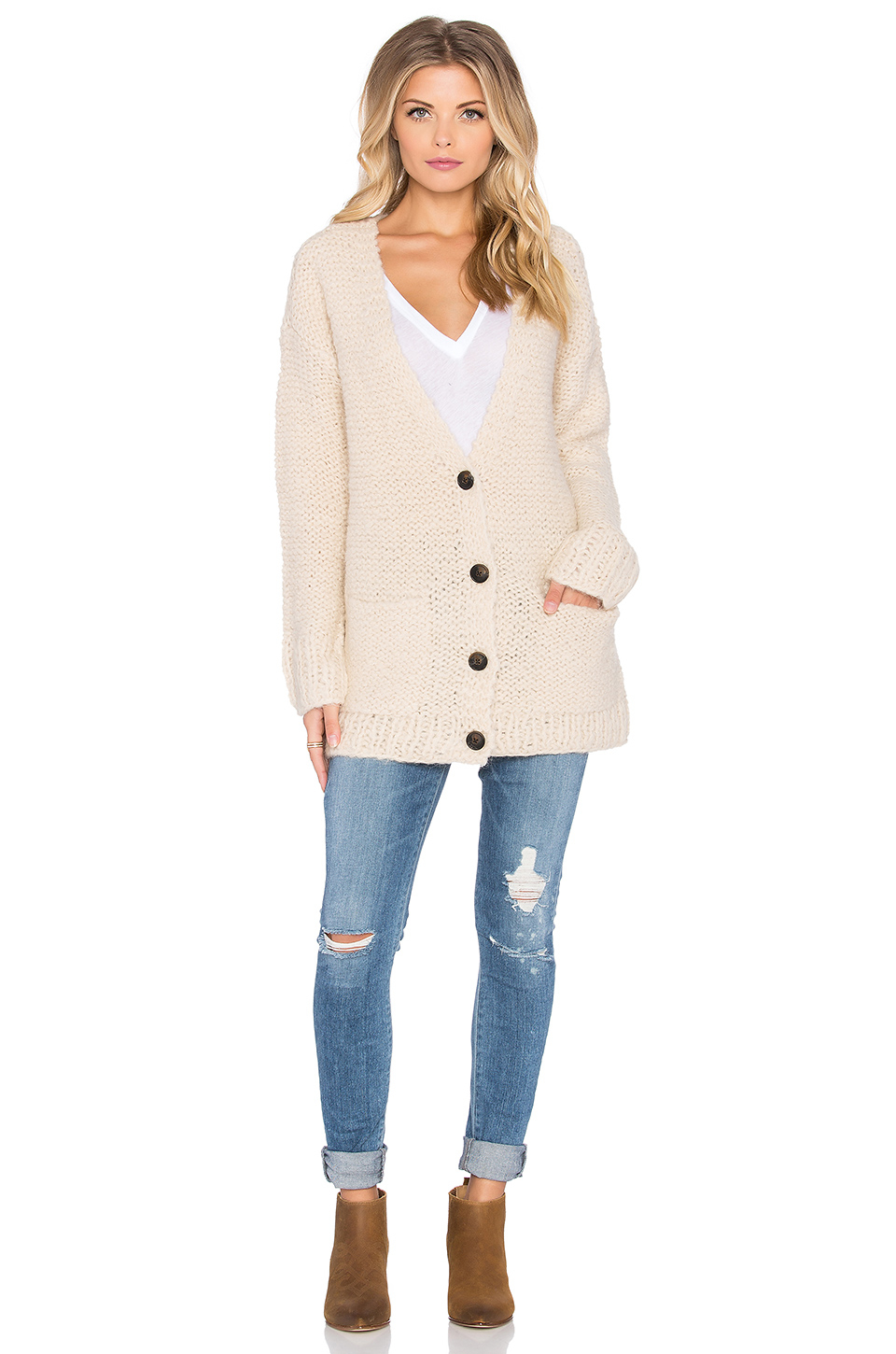 Maison scotch Chunky Loose Knit Cardigan in Natural | Lyst