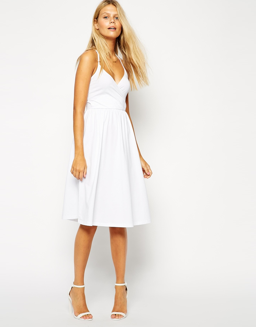 Lyst Asos Midi Sundress With Strappy Back And Wrap Front