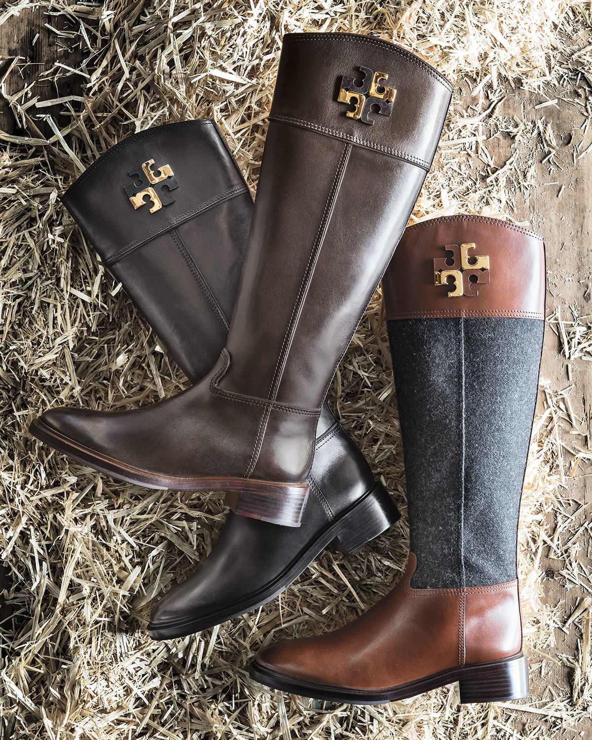 1f20d3bc1e3d Lyst - Tory Burch Lowell Logo Riding Boots in Brown