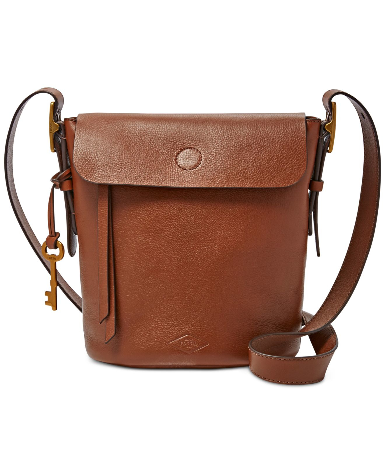 Fossil Haven Small Leather Bucket Bag in Brown
