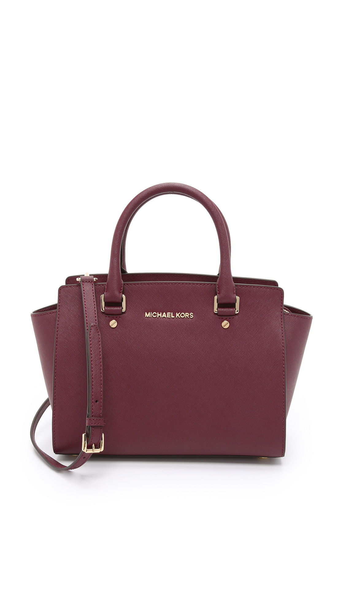 michael michael kors selma medium top zip satchel merlot in red lyst. Black Bedroom Furniture Sets. Home Design Ideas