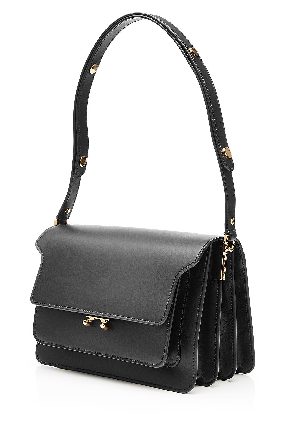Marni Trunk Medium Leather Shoulder Bag Black In Black
