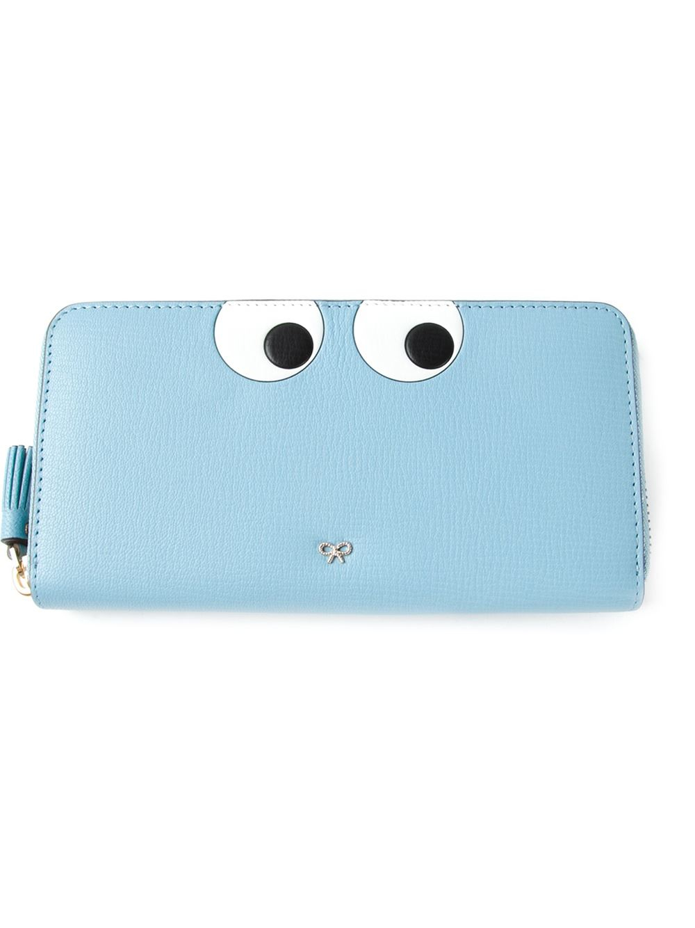 small silver leather Eyes zip around wallet - Grey Anya Hindmarch A09m6eFzv0