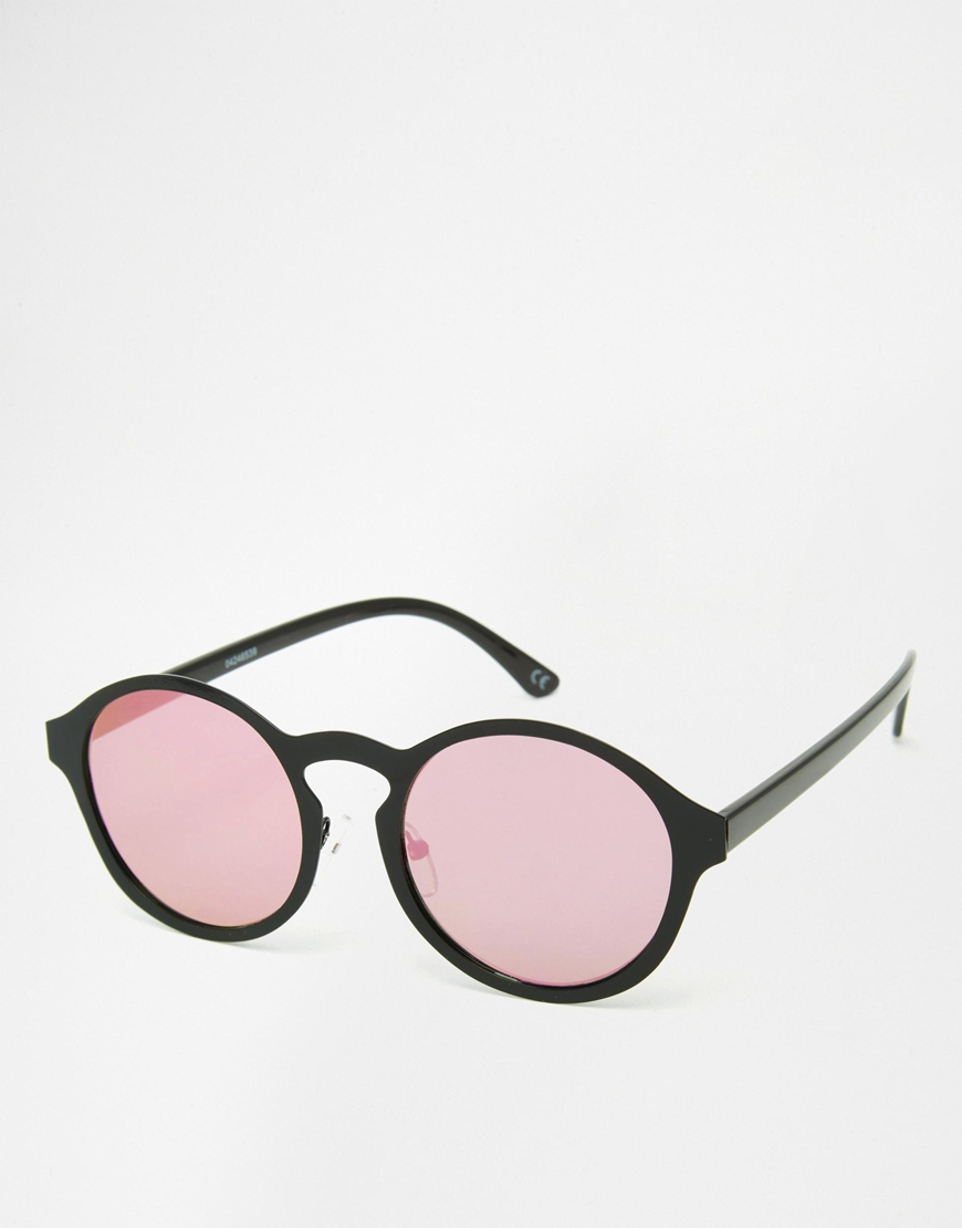 408b94fe20c Lyst - ASOS Round Inset Metal Sunglasses With Flat Lens And Pink ...
