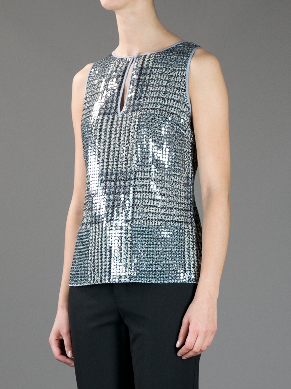 Tory burch checked sequin embellished top in blue lyst for Tory burch fashion island