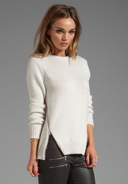 Cut25 Crewneck Side Zipper Sweater In Beige In Beige Lyst