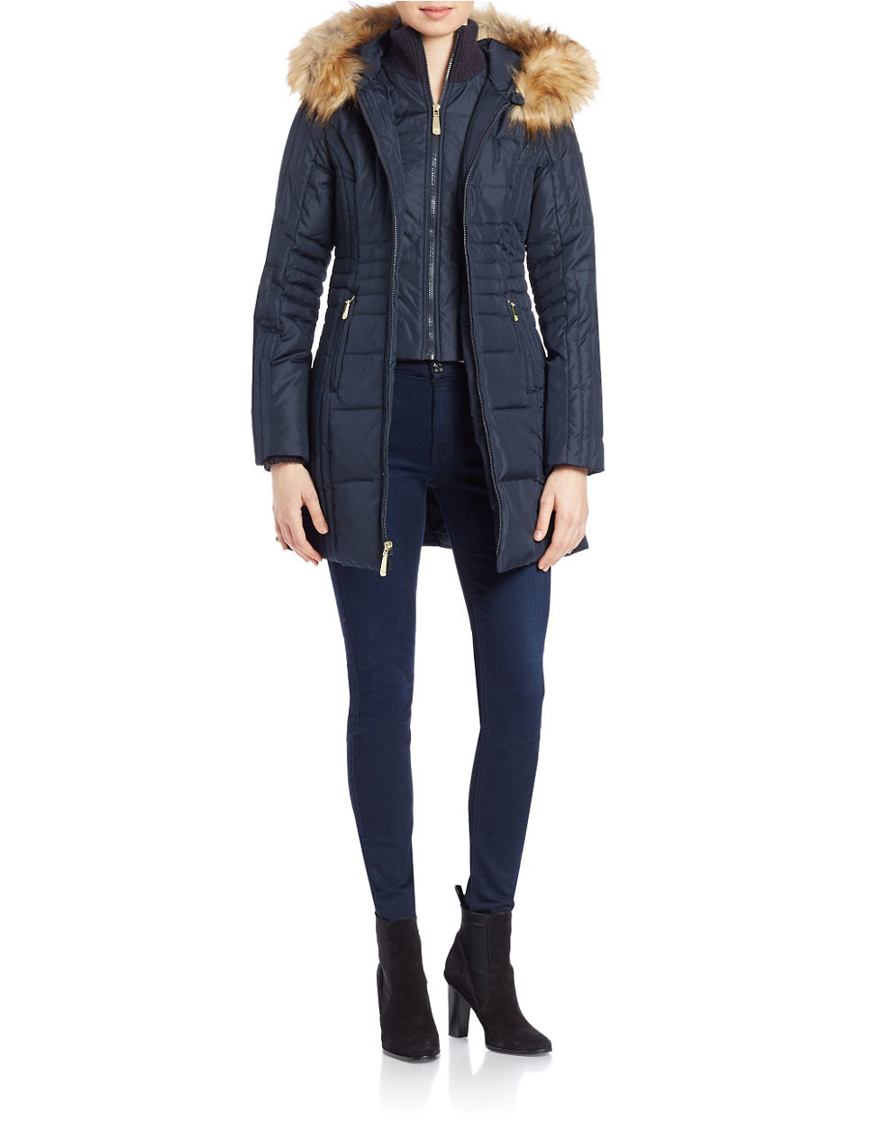 Vince Camuto Faux Fur Hooded Puffer Coat In Blue Lyst