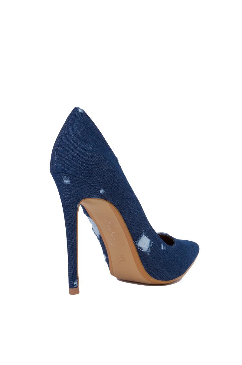 5d8ad90d72c6 Lyst - AKIRA Pointed Toe Distressed Dark Blue Denim Pumps in Blue