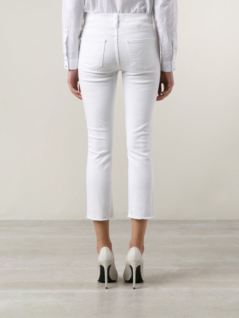 Frame Le High Skinny Jeans in White - Lyst