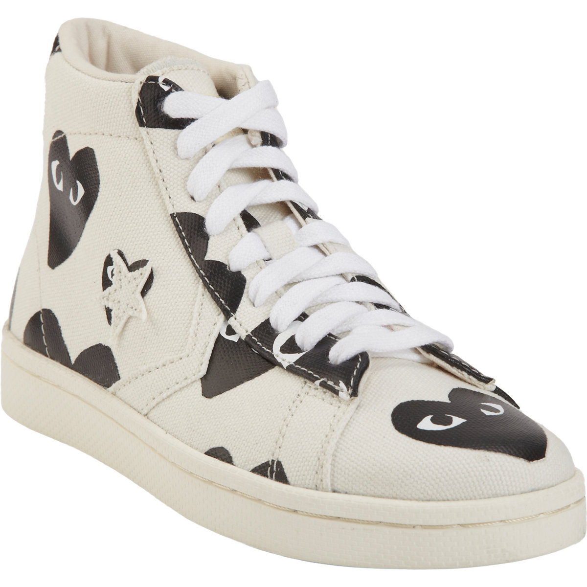 play comme des gar ons play pro canvas and leather high top sneakers in white lyst. Black Bedroom Furniture Sets. Home Design Ideas