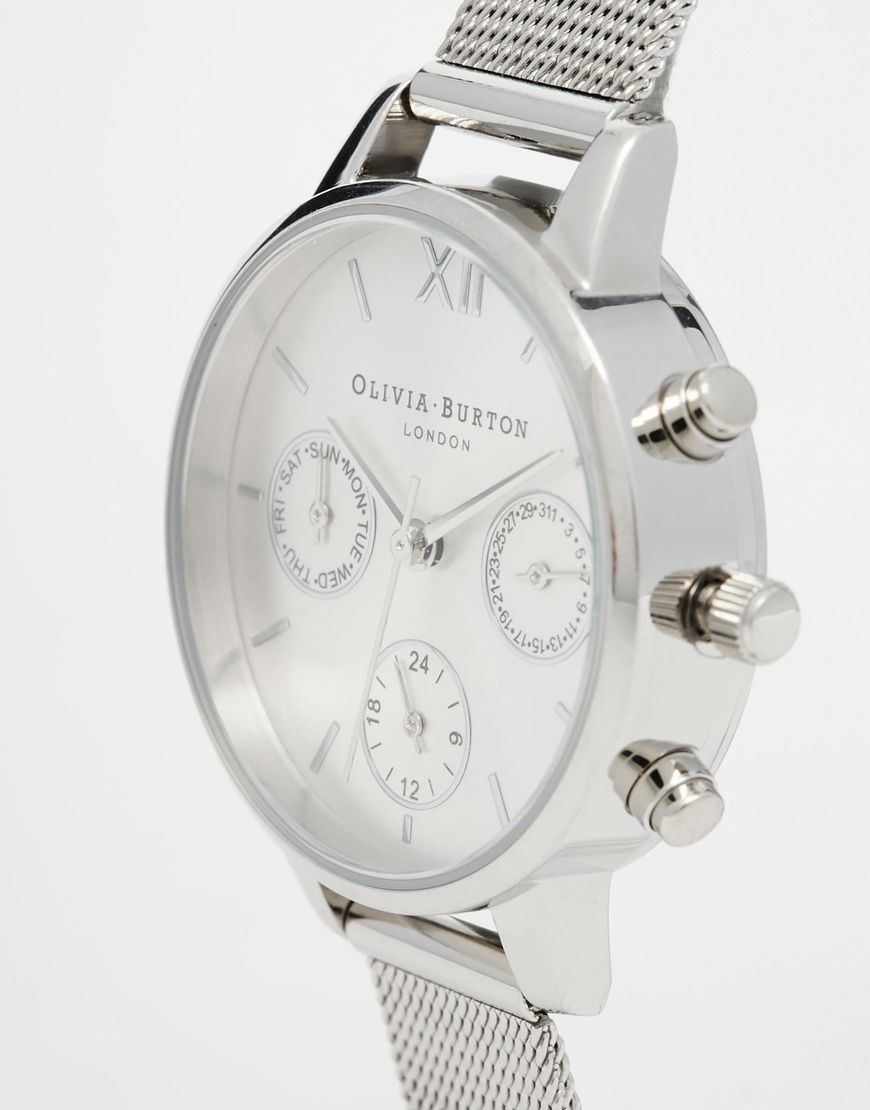Lyst Olivia Burton Silver Midi Dial Chronograph Watch In