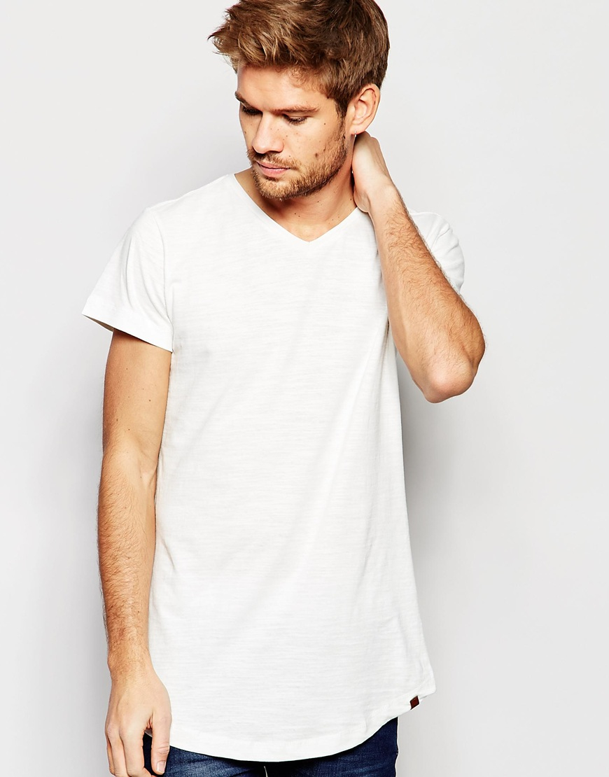 20cab1f53 Blend T-shirt V Neck Loose Longline Fit In Off White in White - Lyst