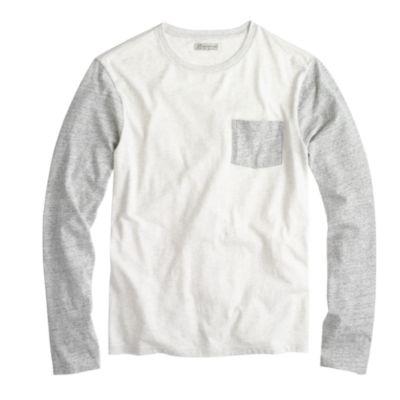 9bd07a4eaea1 Lyst - J.Crew Slim Long-sleeve Flagstone Contrast Pocket Tee in Gray ...