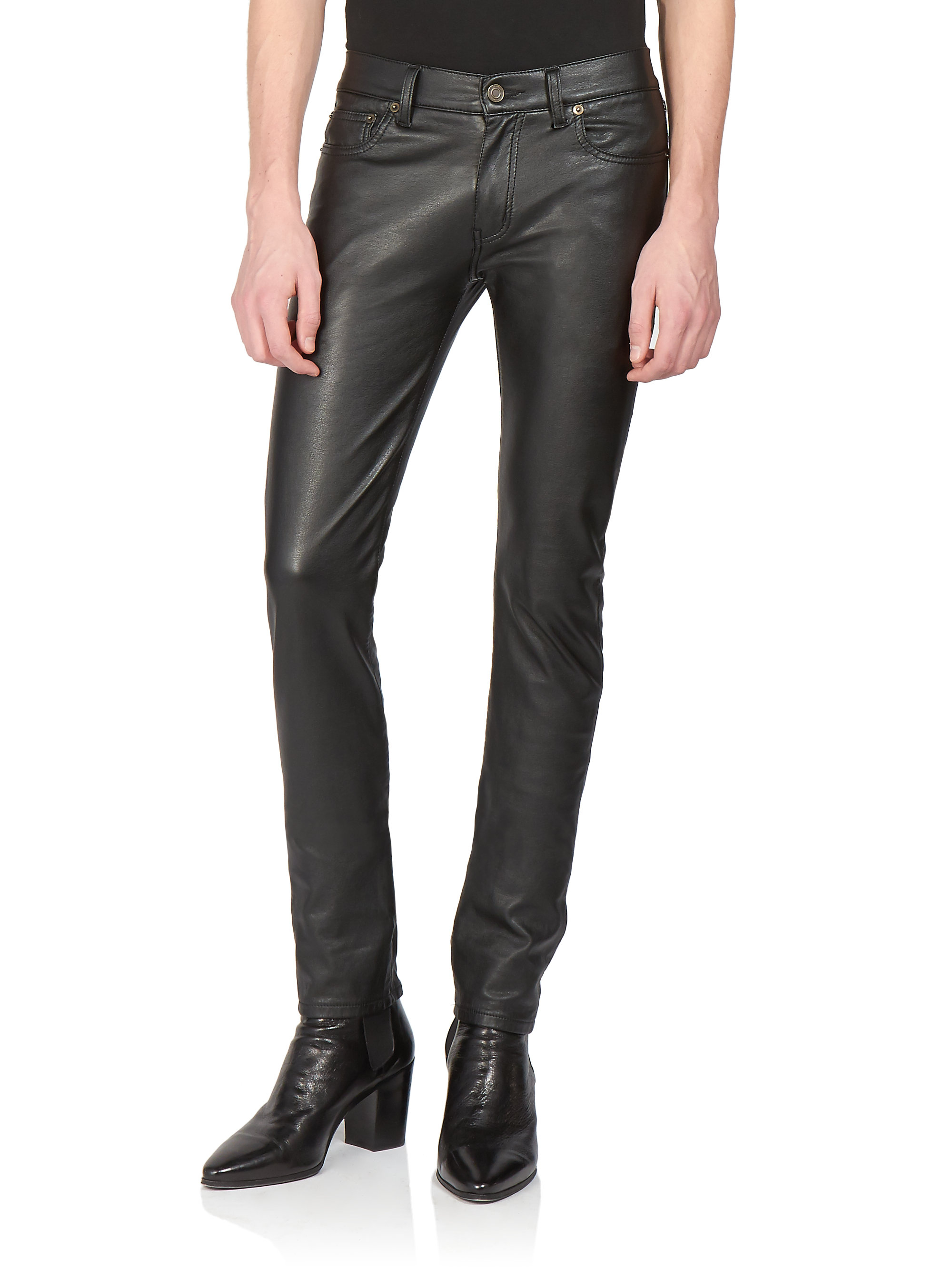 saint laurent faux leather jeans in black for men lyst. Black Bedroom Furniture Sets. Home Design Ideas