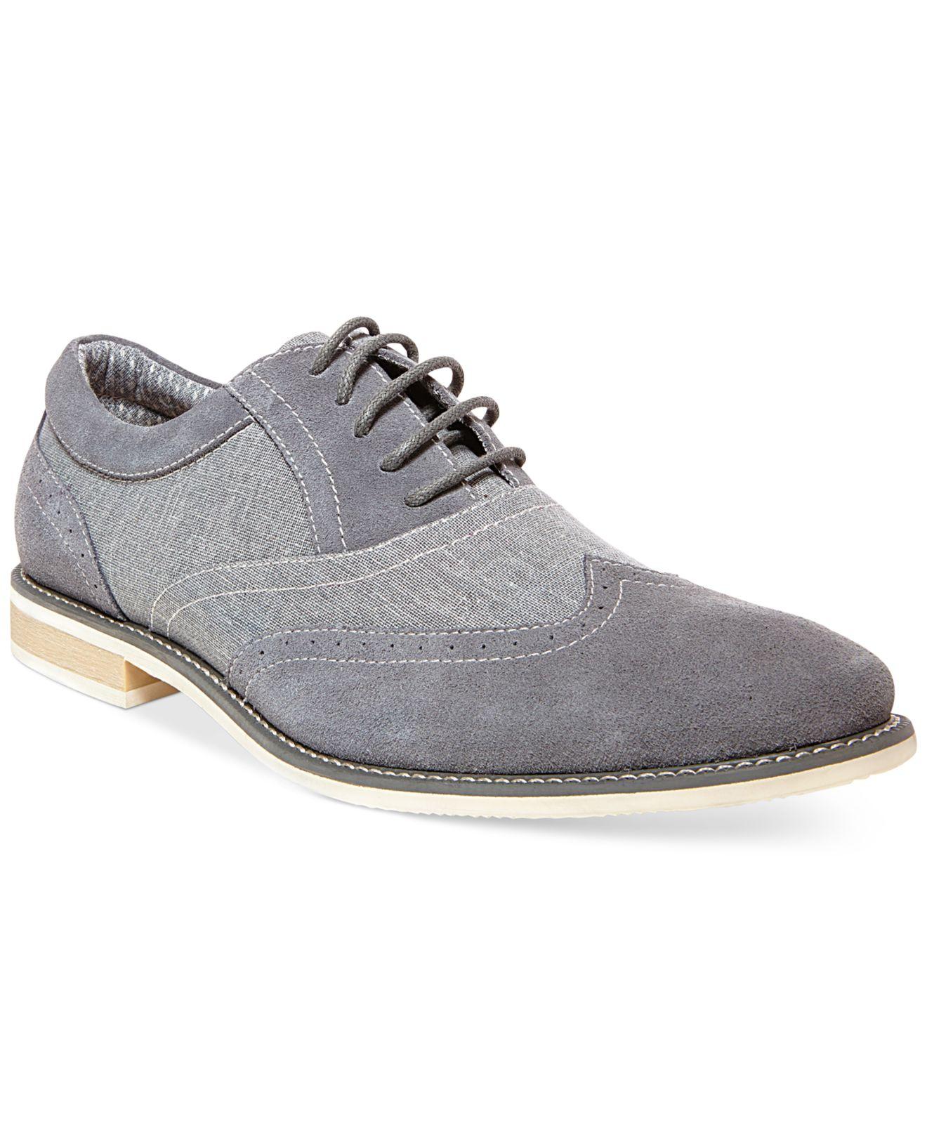 steve madden samson2 wing tip dress shoes in gray for
