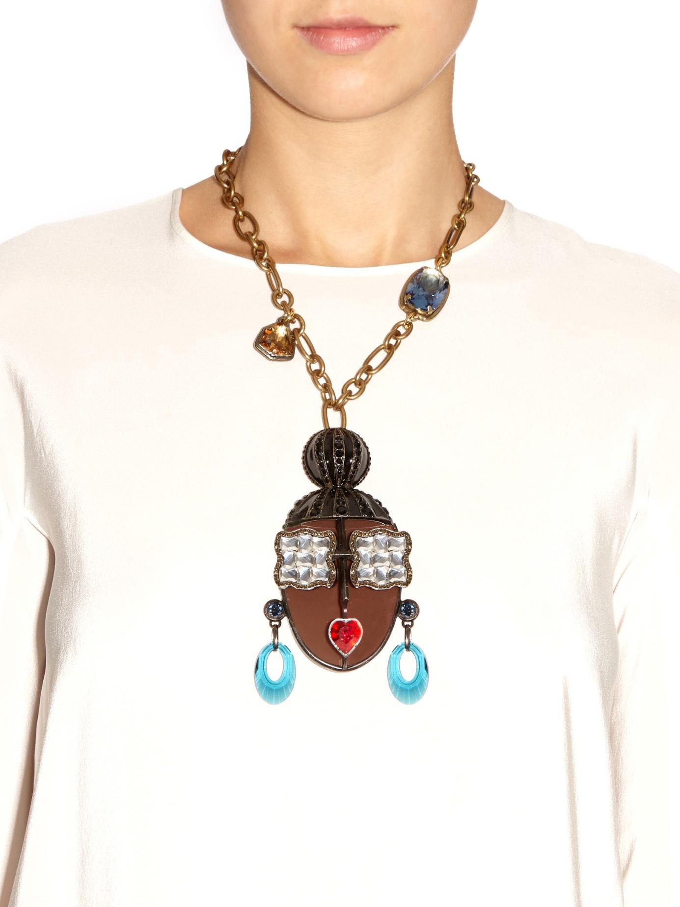 Face Pendant Lyst lanvin zandra face necklace in metallic gallery audiocablefo