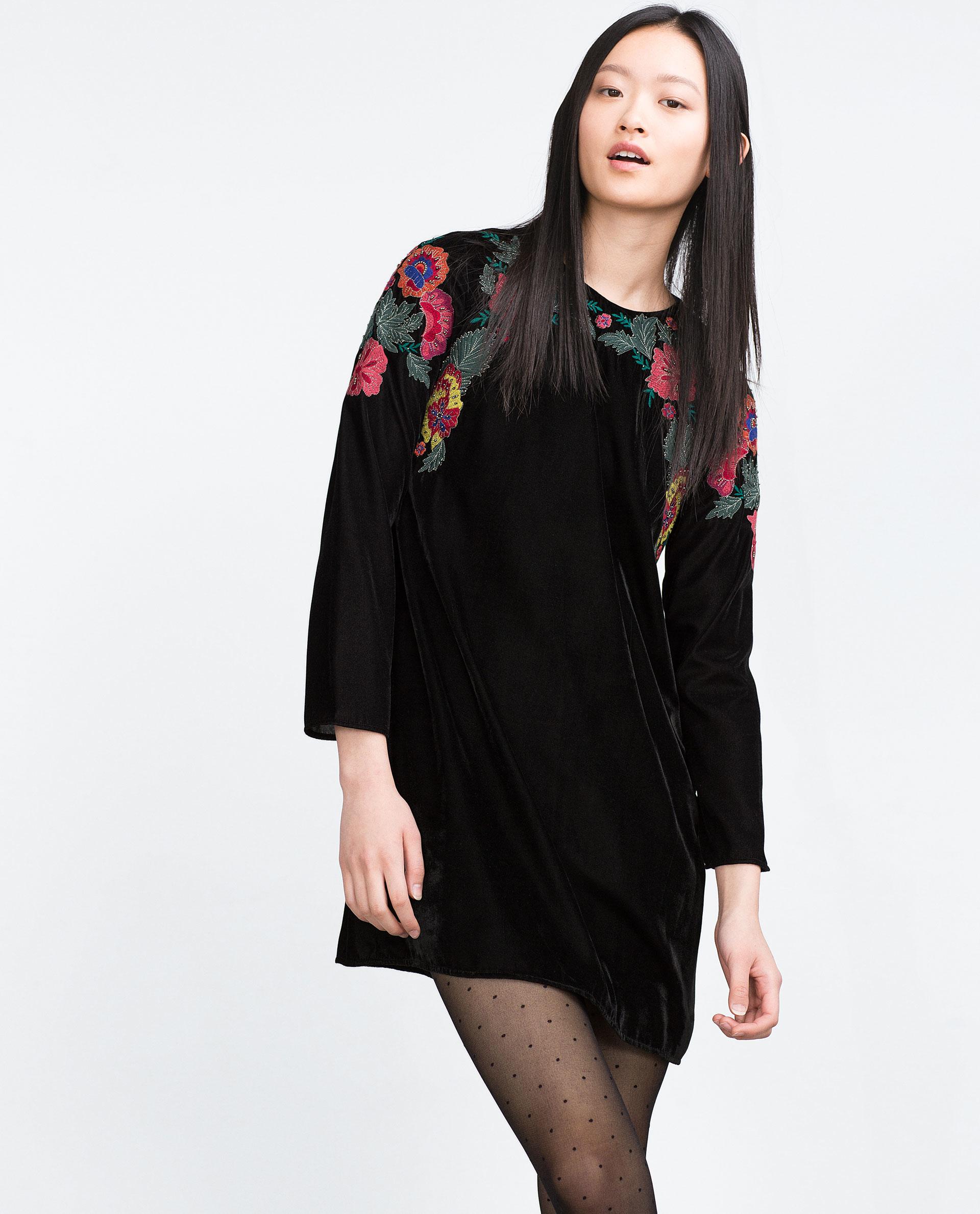 Zara Embroidered Velvet Dress In Black   Lyst