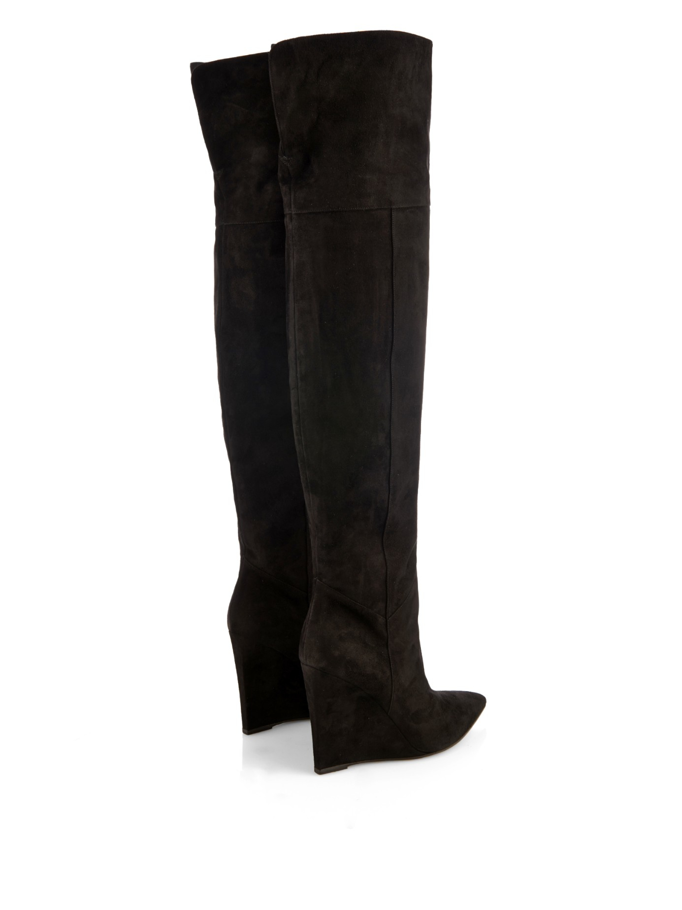 Saint laurent Over-the-knee Suede Wedge Boots in Black | Lyst