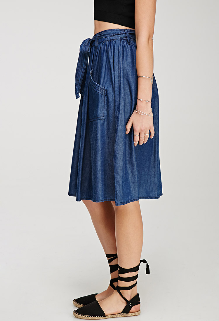 Forever 21 Contemporary Denim A Line Skirt In Blue Lyst