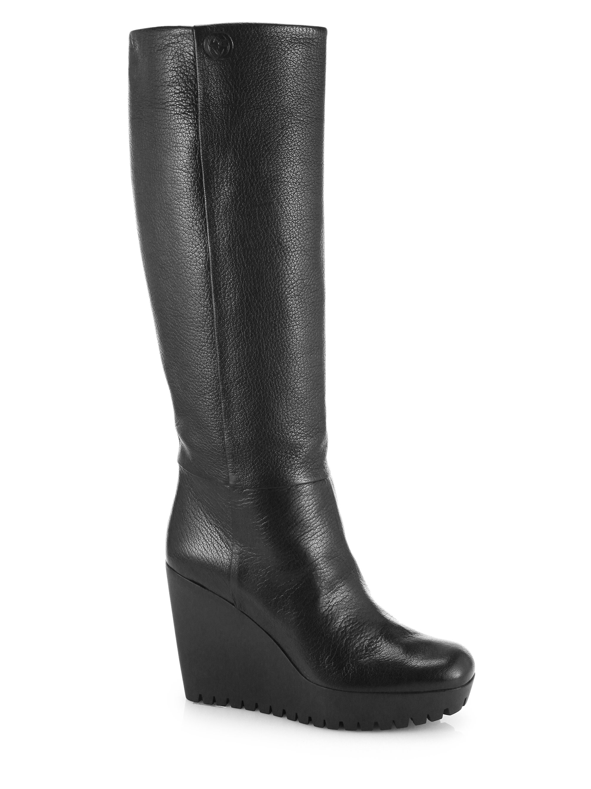 Gucci Marion Knee-High Leather Wedge Boots in Black | Lyst