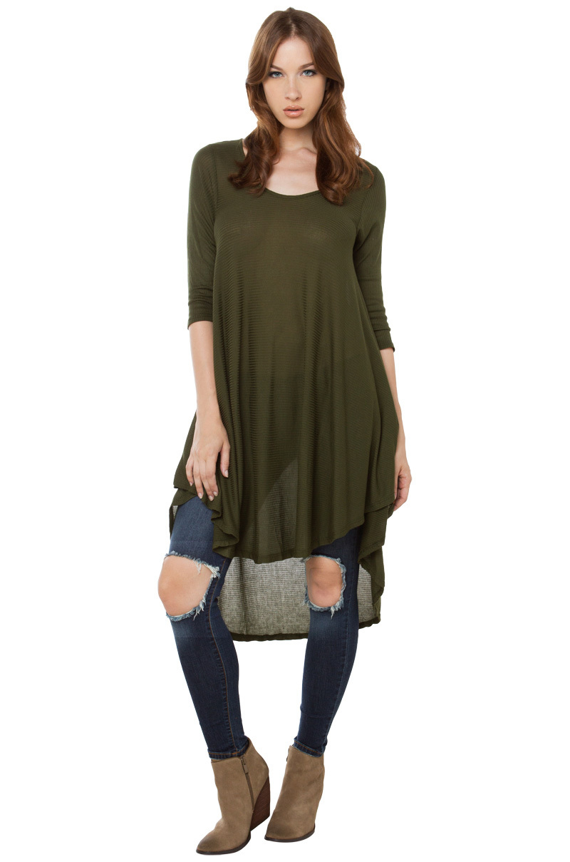 Lyst akira drape side longsleeve top olive in green for Akira long sleeve shirt