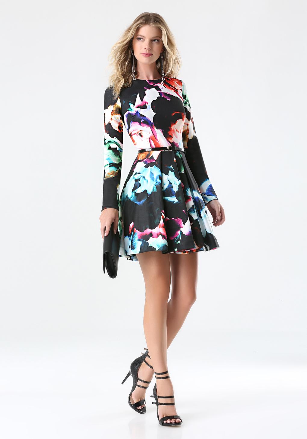 Lyst Bebe Print Fit Amp Flare Dress In Black